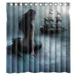 Mermaid and the Sailing Ship Shower Curtain 66(w)x72(h) $34.80 www.mermaidhomedecor.com - Mermaid Shower Curtains