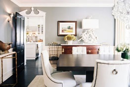 mixture: Dining Rooms, Wall Colors, The Doors, Wall Paintings Colors, Black Doors, Dining Chairs, Grey Wall, Gray Wall, Grey Paintings