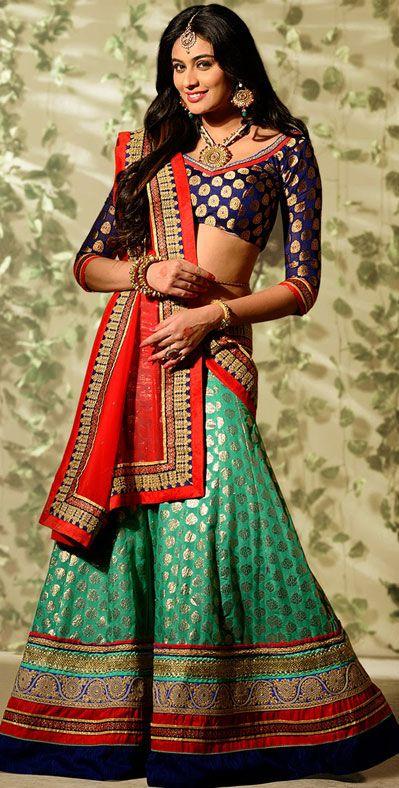 USD 135.89 Turquoise Banarasi Silk Wedding Lehenga Choli 43001