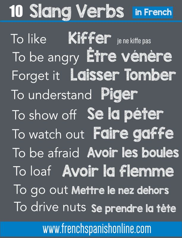 French slang verbs: https://www.frenchspanishonline.com/magazine/10-slang-verbs-in-french/