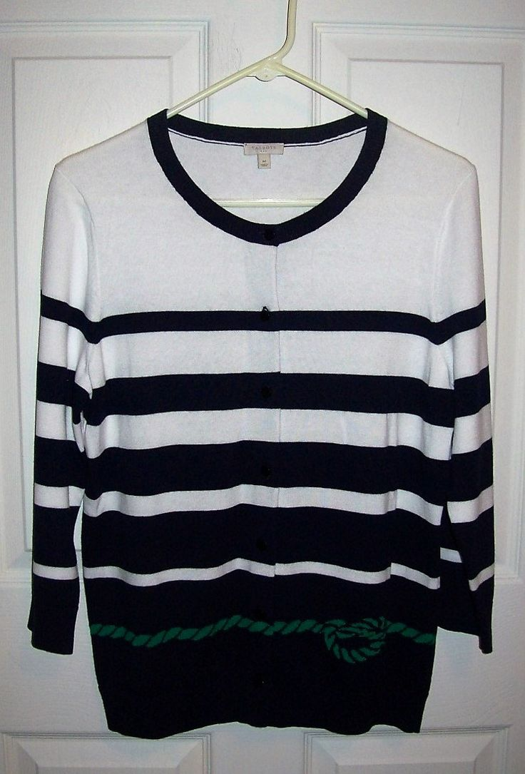 Vintage Ladies Navy & White Nautical Cardigan Sweater by Talbots Medium Only 5 USD by SusOriginals on Etsy