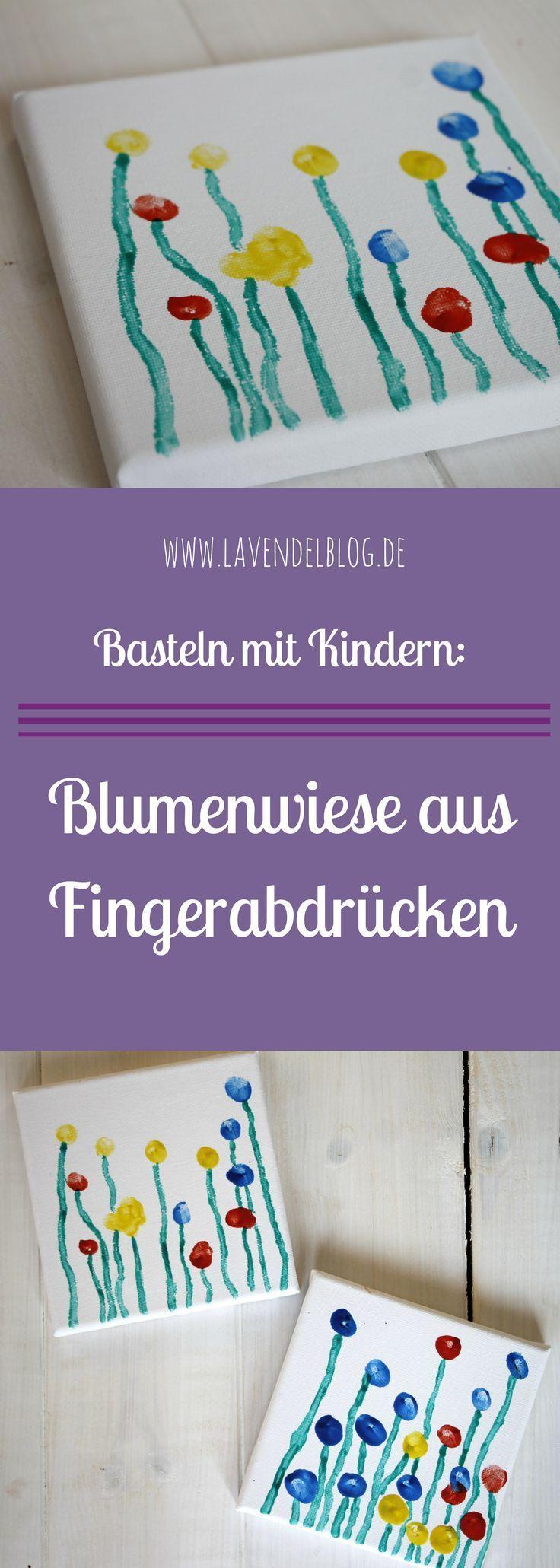 Ein Kinder Fingerabdruck ist die Basis dieser DIY Idee. Die Kinder Fingerabdrücke ergeben auf einer Leinwand eine Blumenwiese aus Fingerabdrücken. Eine schönes DIY Projekt für Babys und Kleinkinder. Eine Geschenkidee für Oma und Opa oder zum Selbstaufhäng