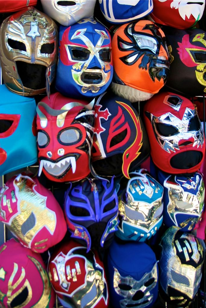 Mexican lucha libre wrestling masks for sale on Mission Street, San Francisco. © Miikka Järvinen 2013