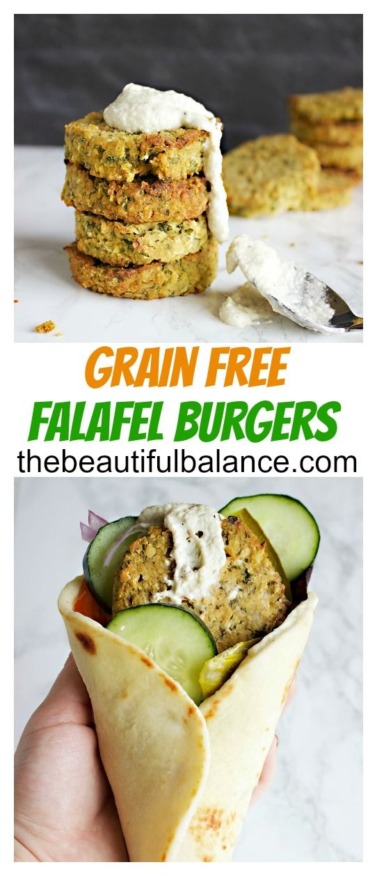 Grain Free Falafel Burgers are gluten free, vegan, easy, low calorie, high protein, and delicious! | The Beautiful Balance