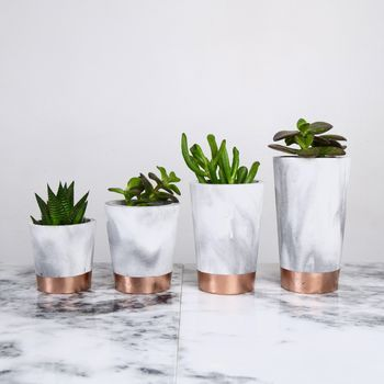 copper dipped marbled cement pots - Copper Home Decor