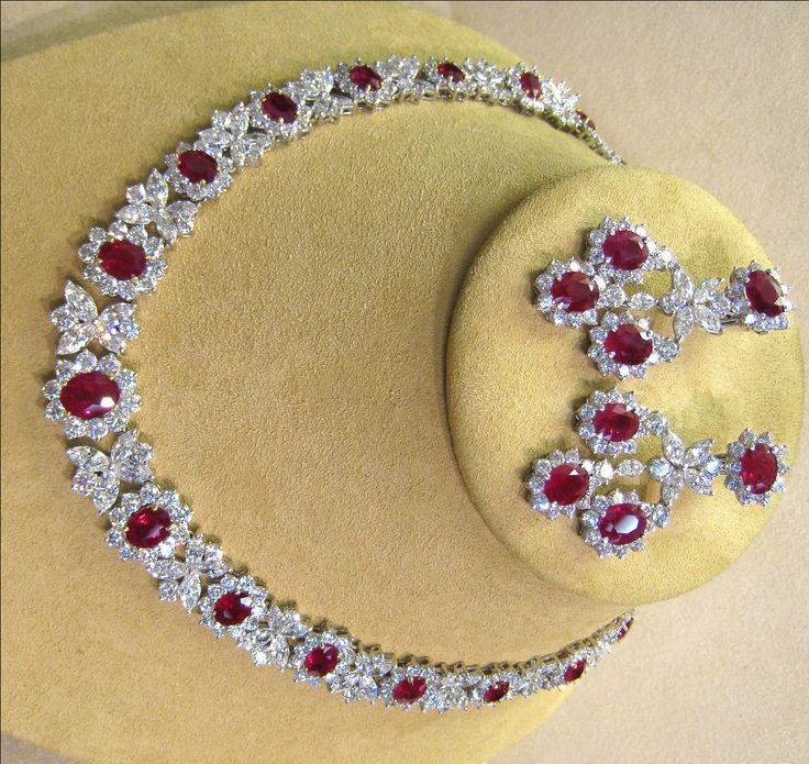 Up for sale is a beautiful fine Burma ruby & diamond platinum necklace & earrings set. Description from jewelry4millionaires.com. I searched for this on bing.com/images