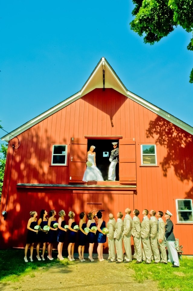 Country wedding. Red barn Kristen Conte photography. Navy and yellow, military, wedding dress, khaki suits