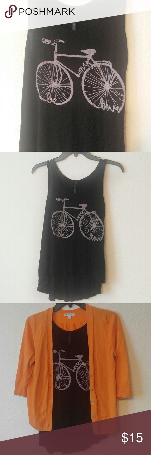 Ringo Stone Bicycle Hi-Lo Tank Be my love ~ Rhinsmestones on lettering ~ Super Cute and Comfy 95% Rayon 5% Spandex Ringo Stone Tops Tank Tops