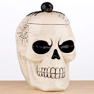 ~Skull cookie jar from World Market~: Skulls, Halloween Skull, World Market, Holidays, Holiday Decorations, Cookie Jars, Worldmarket