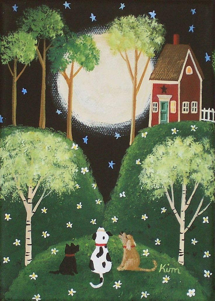 Folk Art Prints   Moonlit Serenade Folk Art Print by KimsCottageArt on Etsy