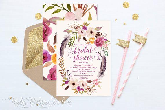 Printable Bridal Shower Invitation, Romantic Watercolor Floral, Bohemian Floral Style, Hens Party, Kitchen Tea, DIY Printable Invitations