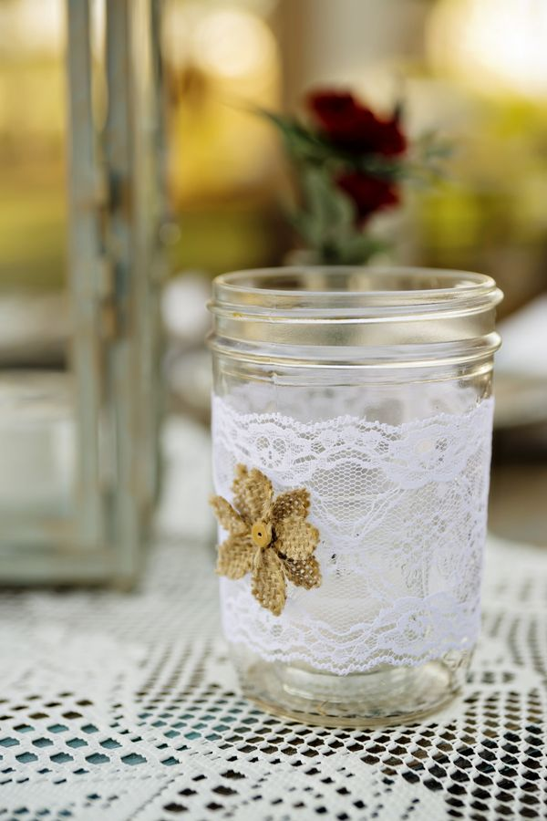 Mason Jar Decorated with Burlap & Lace|{Red & Teal} Country Western Fall Wedding|Jesse & Benji