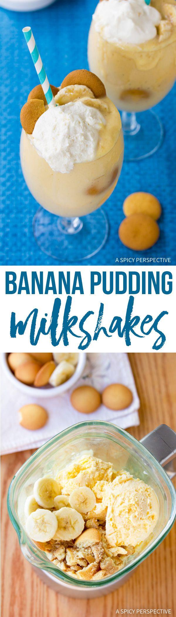 The BEST Banana Pudding Milkshake Recipe via @spicyperspectiv