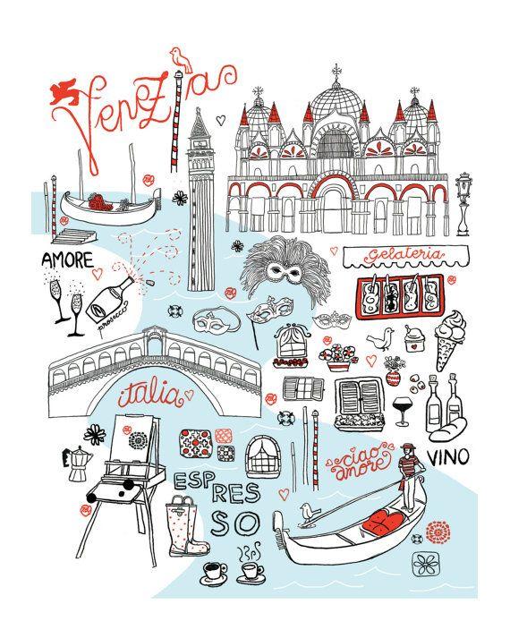 Mappa di Venezia by Holly Graham Etsy
