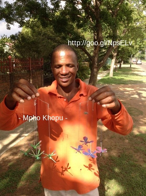 WOW ! Meet Mpho... MicroEntrepreneur empowered by Victory100.  He didn't have an email account. Selling these crafts 1 km from my house .....but 120 km from his ! Work with 3 other.Run complete business...lacking the marketing support. They buy raw materials from Chinese market, delegate tasks, produce 3 days, sell 3 days / week. Share products, sell on different corners. Everyone keeps own income.follow story on IG : fijma luijk_smguru Join :  http://goo.gl/NpsELv