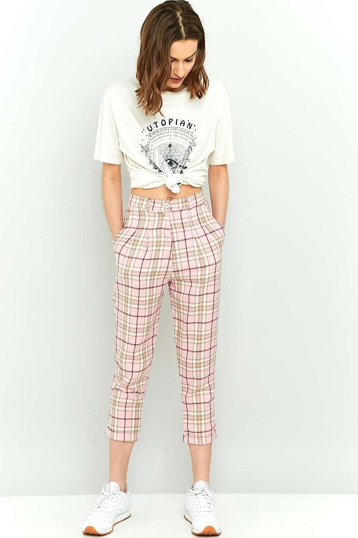 Urban Renewal Vintage Re-Made Pink Check Trousers