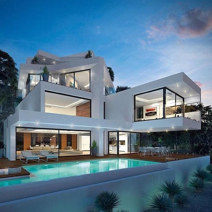 221 best modern villa design images on pinterest modern for Modern luxury villa design