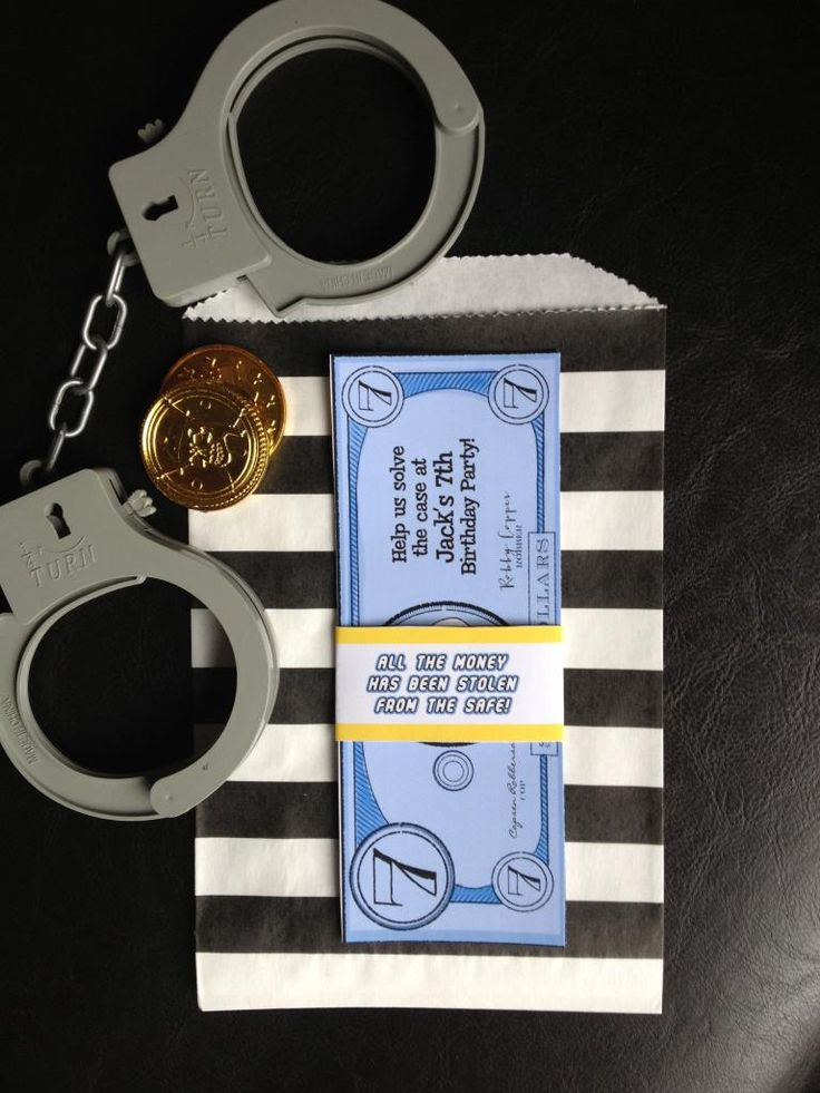 Lego Cops and Robbers Money Invitation designed by Piggy Bank Parties  {Craft That Party}