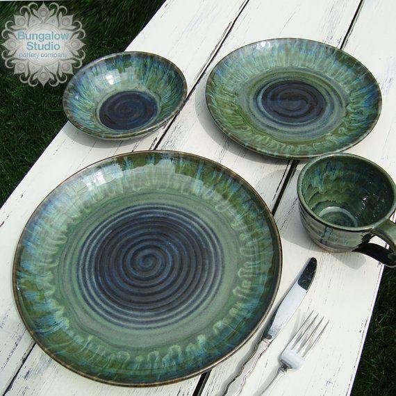Wedding registery pottery dinnerware set ceramic by BungalowSPC & 412 best Plates Platters u0026 Trays images on Pinterest | Ceramic ...