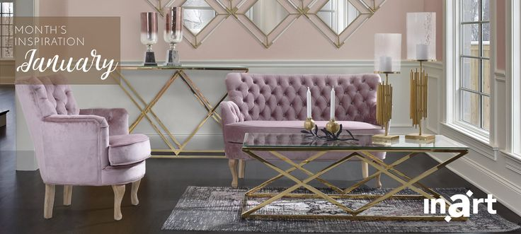 inart's inspiration for January is all about Gold Pink! Explore the perfect winter look for your living room here: http://www.inart.com/en/
