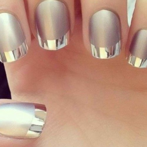 Two-Tone Silver, Acrylic Nails