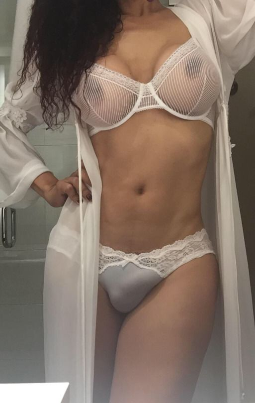 Cocks in see through knickers