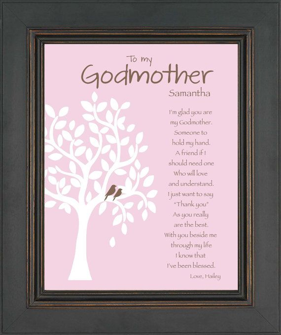 GODMOTHER Gift - 8x10 Print - Personalized Godmother Print - Gift for Godparents - Gift for Baptism or Communion- colors can be changed