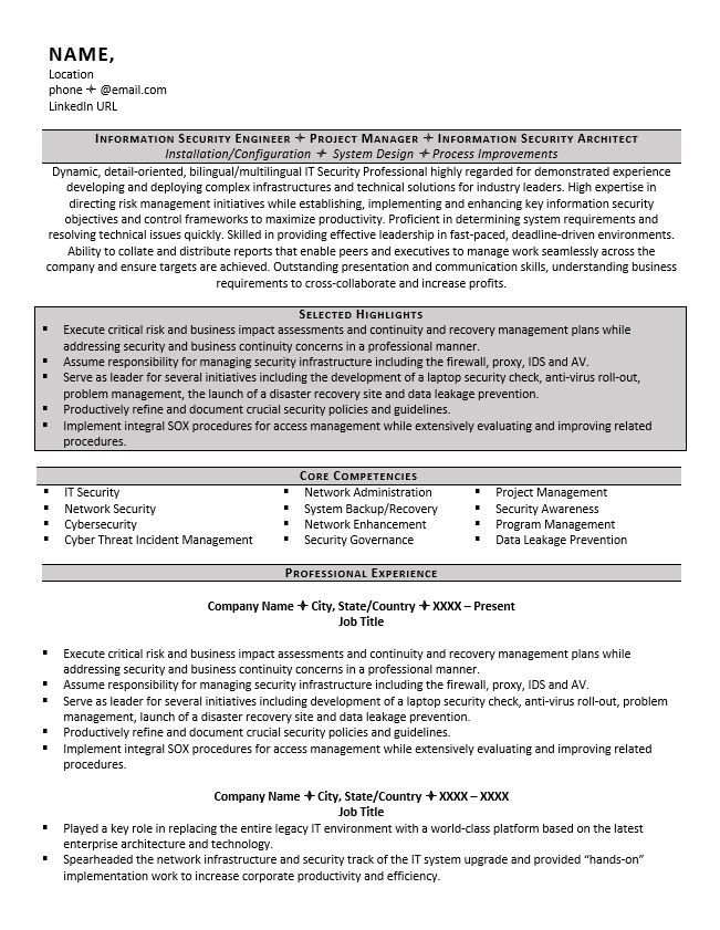 Information Security Resume Example Information Security Resume