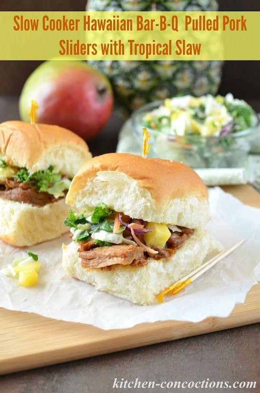 Slow Cooker Hawaiian Bar-B-Q Pulled Pork Sliders with Tropical Slaw # ...