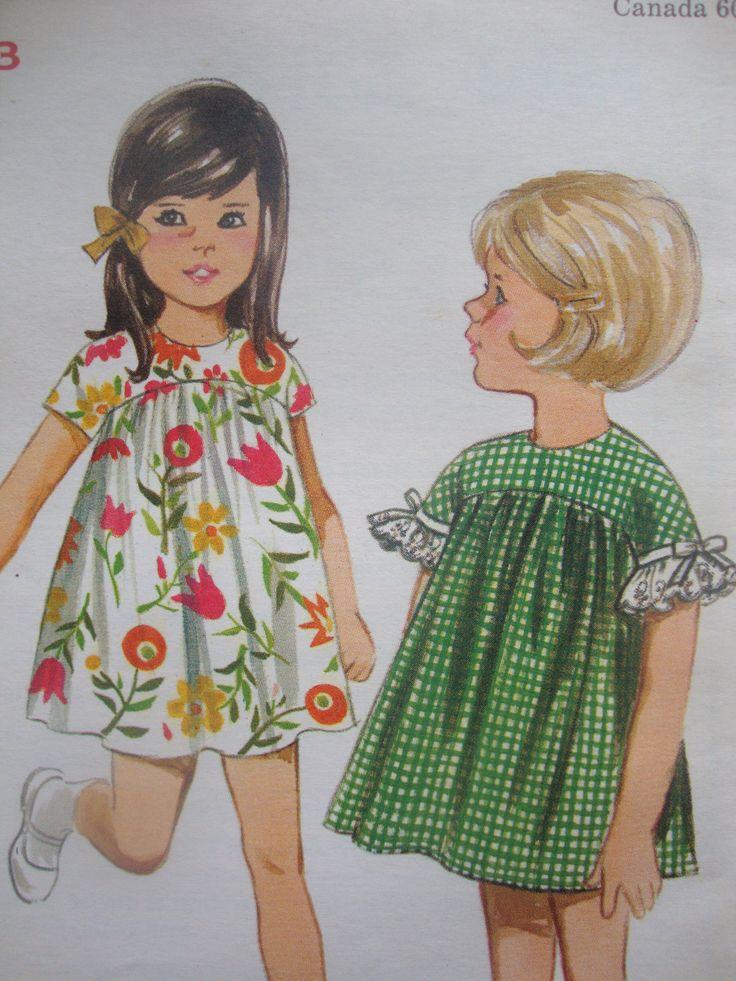 #vintage 1960s retro MOD butterick #sewing #pattern girls DRESS high yoke curved seam SIZE 4 uncut