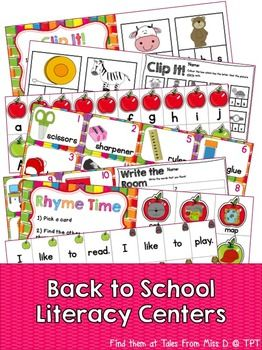 This pack contains 5 Back to School Themed Literacy Centers! Simply print, cut & laminate! 1) Initial Sounds Clip it! + Recording sheet (British & American spelling) 2) Upper & Lowercase Match + Recording sheet 3) Back to school Write the Room + Recording sheet 4) Rhyming words + Recording sheet 5) Making sentences If you have any questions please email me at talesfrommissd@gmail.com.