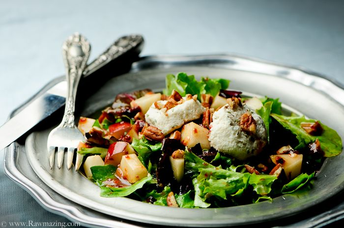 Pear Salad with Dried Cherry Vinaigrette and Macadamia Medallions #raw #vegan #recipe