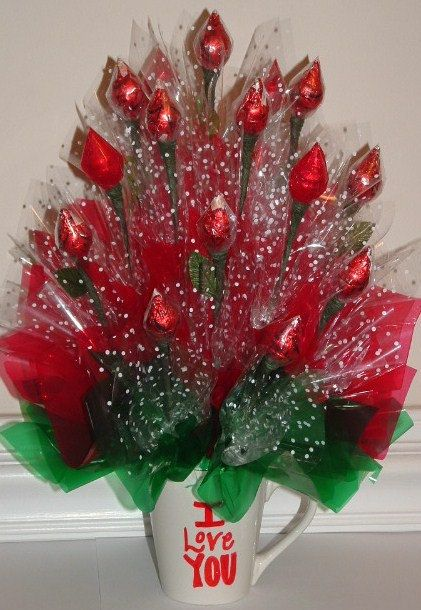 18 Candy Kiss Chocolate & Caramel Arranged ROSES by ...