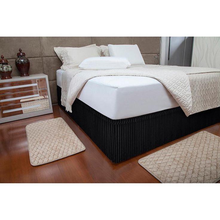 Multi Saia Fibrasca - Box Plisse - 3733 Solteiro Preta -Cama, Mesa e Banho - Acessórios para Cama - Walmart.com