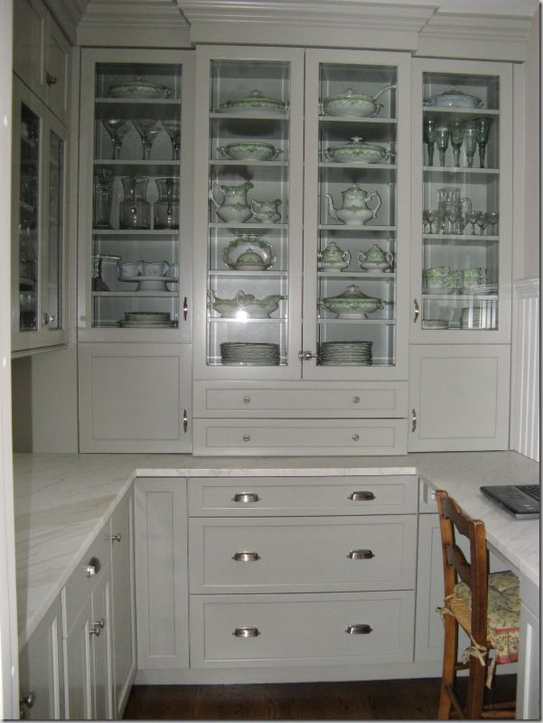 Benjamin Moore Fieldstone paint: Butler Pantries, China Cabinets, Butler Pantry, Grey Cabinets, Kitchens Ideas, Willow Decor, Pantries Ideas,  China Closet, Cabinets Doors