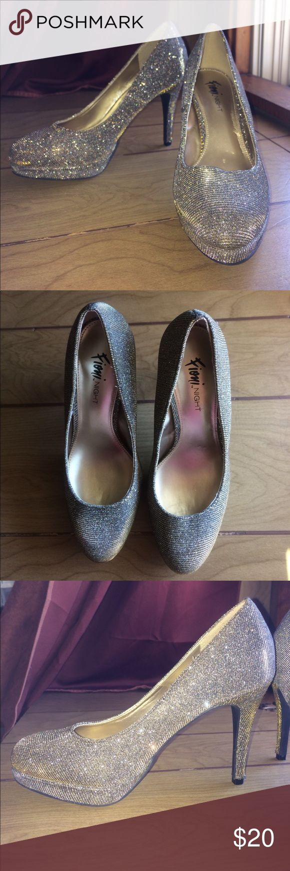 FIONI NIGHT Sparkly Heels Beautiful silver and gold sparkle heels. Only worn once to a prom. Only sign of wear is in the material just above the tip of the heel (shown in pics). FIONI Clothing Shoes Heels