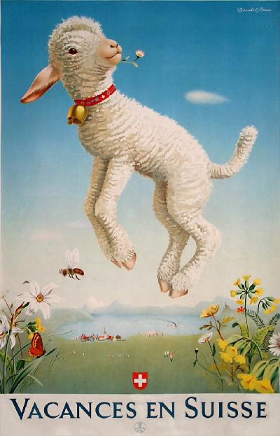 Swiss Vacation travel poster in French.  A lamb with a bell collar and a flower in its mouth leaps in a meadow in the Alps.