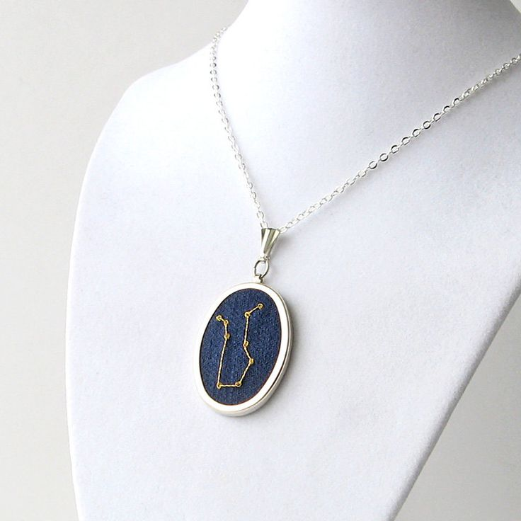 Gemini necklace embroidered constellation May birthday by bstudio