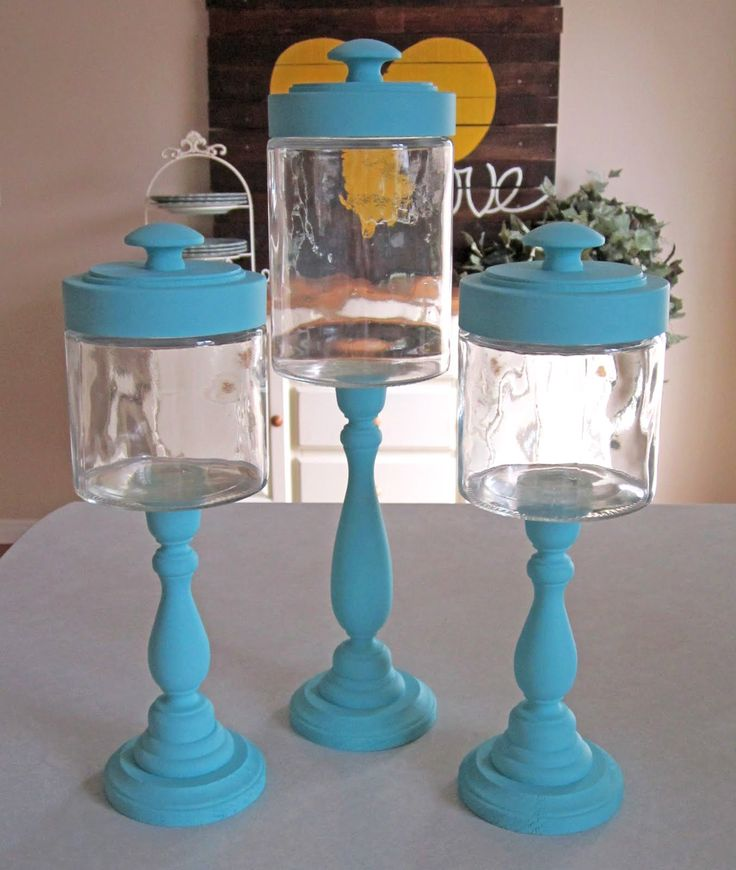 "Candlestick Jar tutorial - candle sticks, baby food jars, drawer pulls - party favors for the ""tea party"" birthday"