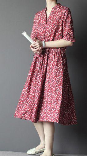 Vintage pattern. Linen sundress. Pink half sleeve fit flare dress cotton sundresses summer casual dress
