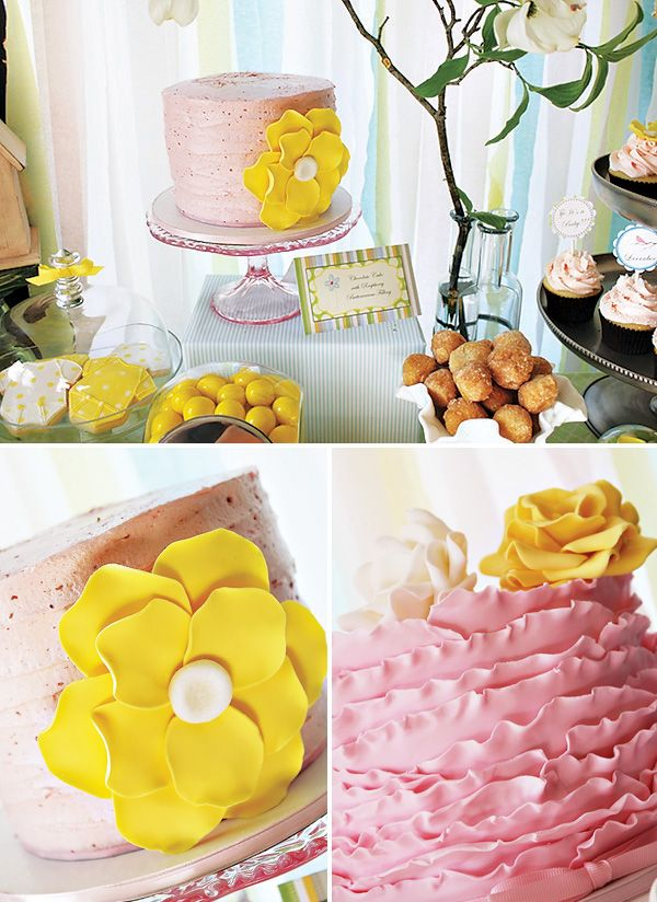 love ruffle cakes!!: Baby Showers Idea, Spring Baby Showers, Baby Shower Ideas, Flower Cakes, Ruffles Cakes, Party Idea, Yellow Cakes, Yellow Flower, Fondant Flower