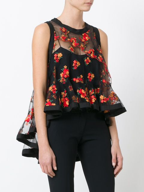 Philosophy Di Lorenzo Serafini floral embroidery sheer blouse