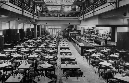 "1940. Inside Heck. In the late thirties lunchroom Heck at the Rembrandtplein in Amsterdam was immense popular. The secret of success was that the food was relatively inexpensive and that clients could listen to live music all day long. It was also a popular dating place. Singer and trumpeter Nat Conella scored with his hit ""Oh Monah"" at Heck and the band Malando Orchestra performed the world hit ""Olé Guapa"" there many times. Heck closed in 1964. #amsterdam #1940"