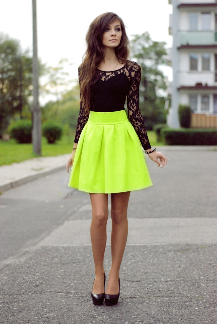 black lace with neon yellow skirt neon green skirts and
