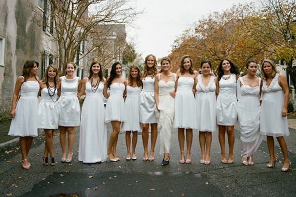 An All-White Bridal Party: White Dresses For Your Bridesmaids