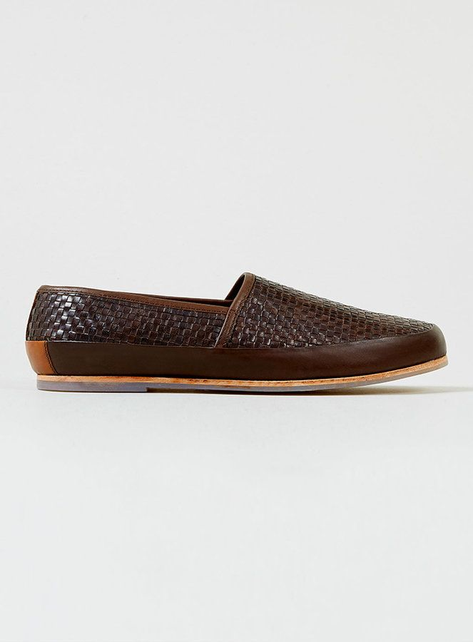 Hudson Brena Brown Leather Weave Slip Ons on shopstyle.co.uk