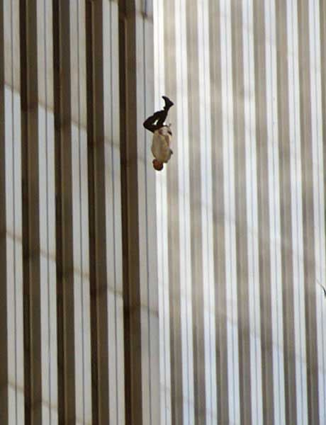photo of a man falling from one of the world trade center towers, 9/11/01..   AND THE MORE SAD THING IS THAT THE PEOPLE WHO CAUSE ALL THIS OBAMA IS GIVING THEM ARMS TO DO IT AGAIN
