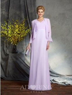 Sheath V-neck Sleeveless Chiffon Floor-Length Mother of the Bride Dress