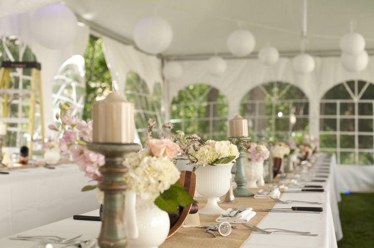 Backyard wedding tables