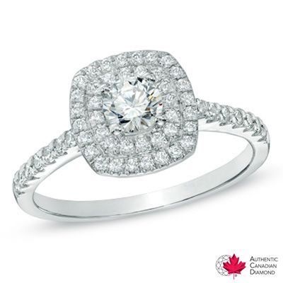 0.71 CT. T.W. Certified Canadian Diamond Frame Engagement Ring in 14K White Gold (H-I/I1)